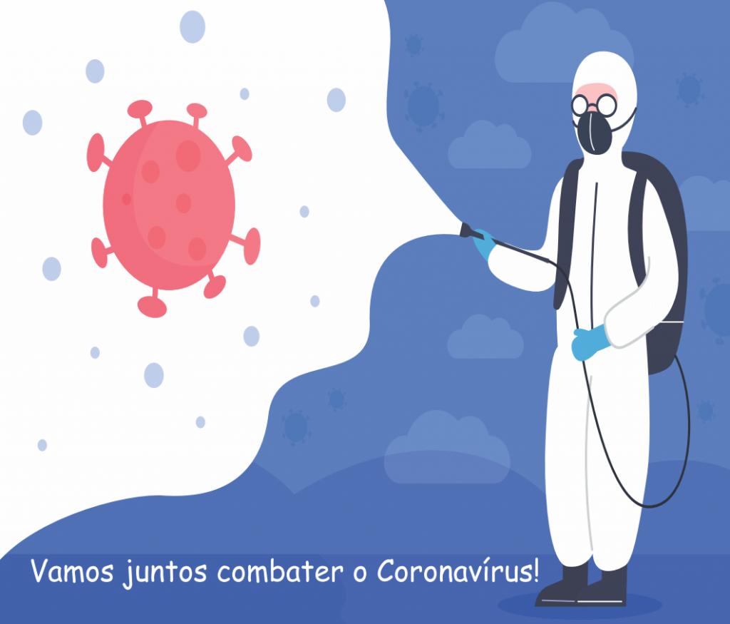 """Ilustração com texto """"Vamos juntos combater o Coronavirus"""""""